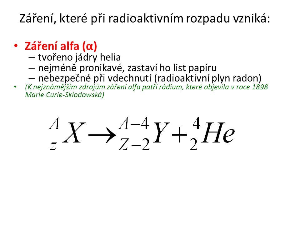 Záření, které při radioaktivním rozpadu vzniká : Záření beta (β) – tvořeno pozitrony nebo elektrony – pronikavější, zastaví ho hliníkový plech pozitron β-β- S rozpadem β + se setkáváme při umělé radioaktivitě β+β+