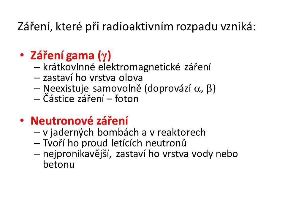 Záření, které při radioaktivním rozpadu vzniká: Záření gama ( γ ) – krátkovlnné elektromagnetické záření – zastaví ho vrstva olova – Neexistuje samovo