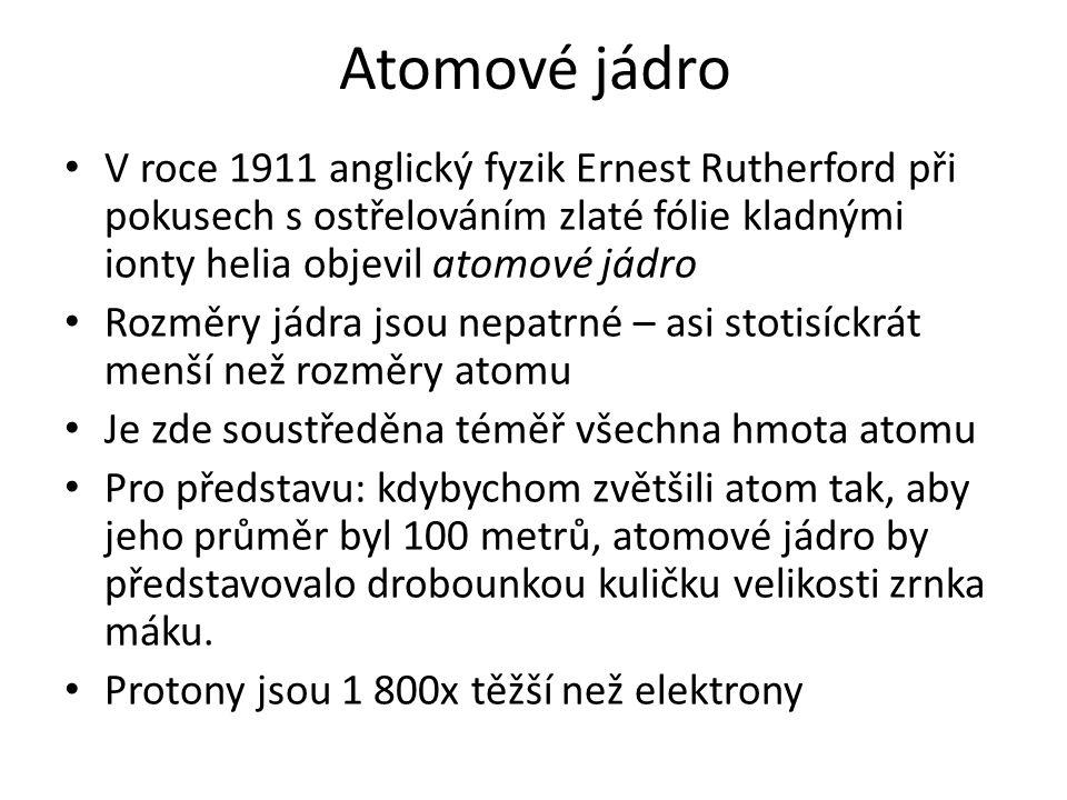 Atomové jádro V roce 1911 anglický fyzik Ernest Rutherford při pokusech s ostřelováním zlaté fólie kladnými ionty helia objevil atomové jádro Rozměry