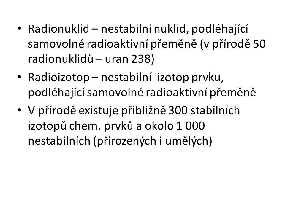 Radionuklid – nestabilní nuklid, podléhající samovolné radioaktivní přeměně (v přírodě 50 radionuklidů – uran 238) Radioizotop – nestabilní izotop prv