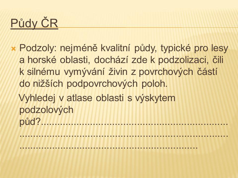 Půdy ČR  Podzoly: nejméně kvalitní půdy, typické pro lesy a horské oblasti, dochází zde k podzolizaci, čili k silnému vymývání živin z povrchových částí do nižších podpovrchových poloh.