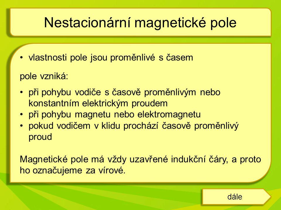 Nestacionární magnetické pole můžeme vytvořit například pomocí magnetu a cívky, k níž je připojen měřící přístroj.