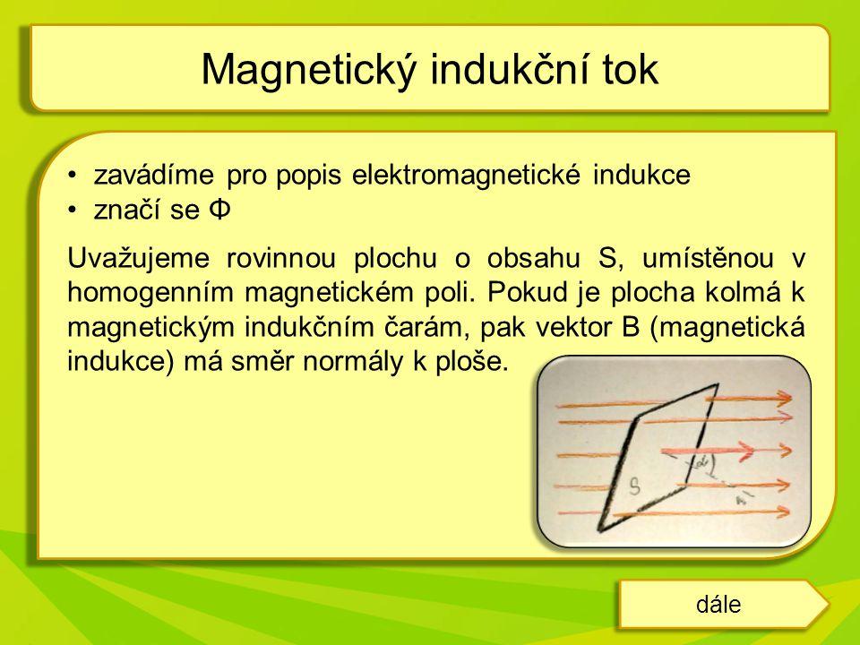 zavádíme pro popis elektromagnetické indukce značí se Φ Uvažujeme rovinnou plochu o obsahu S, umístěnou v homogenním magnetickém poli. Pokud je plocha