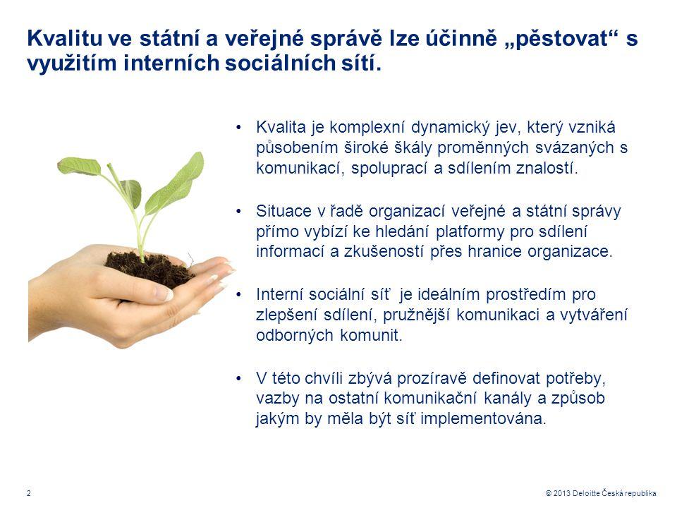 """2© 2013 Deloitte Česká republika Kvalitu ve státní a veřejné správě lze účinně """"pěstovat"""" s využitím interních sociálních sítí. Kvalita je komplexní d"""