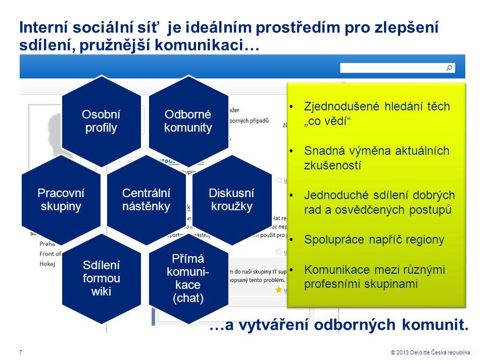 7© 2013 Deloitte Česká republika Interní sociální síť je ideálním prostředím pro zlepšení sdílení, pružnější komunikaci… …a vytváření odborných komuni