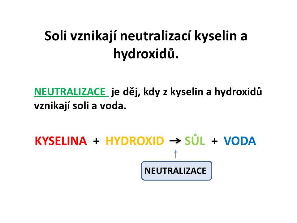 Soli vznikají neutralizací kyselin a hydroxidů. NEUTRALIZACE je děj, kdy z kyselin a hydroxidů vznikají soli a voda. KYSELINA + HYDROXID SŮL + VODA NE