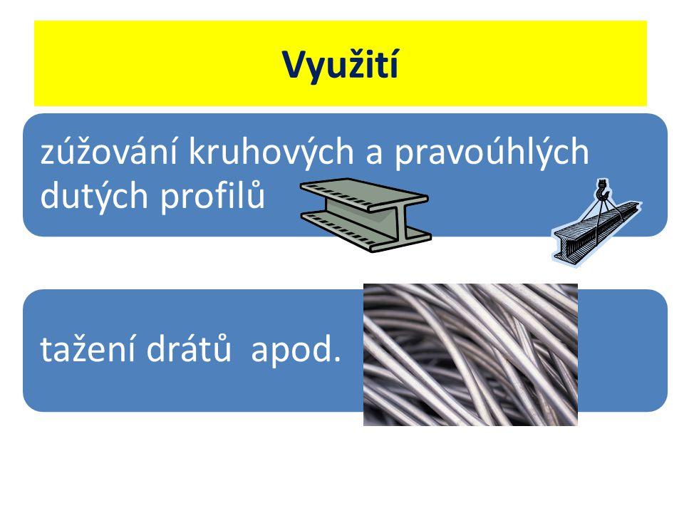 Využití zúžování kruhových a pravoúhlých dutých profilů tažení drátů apod.