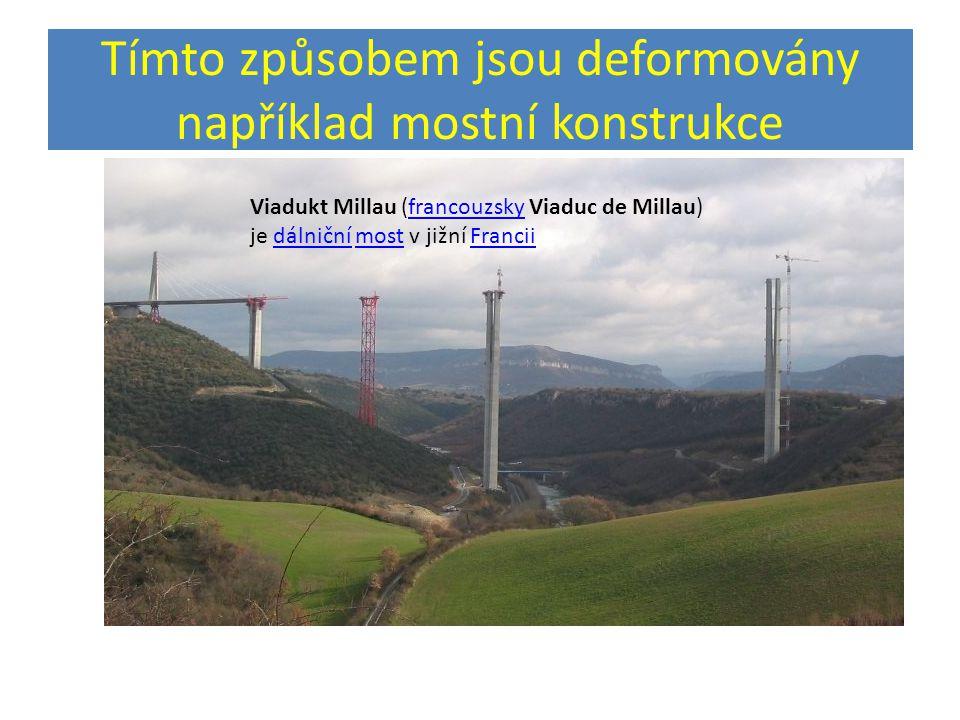 Tímto způsobem jsou deformovány například mostní konstrukce Viadukt Millau (francouzsky Viaduc de Millau) je dálniční most v jižní FranciifrancouzskydálničnímostFrancii