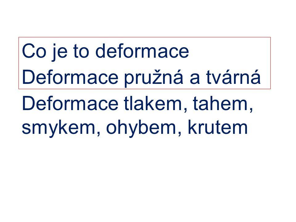 Co je to deformace Deformace pružná a tvárná Deformace tlakem, tahem, smykem, ohybem, krutem