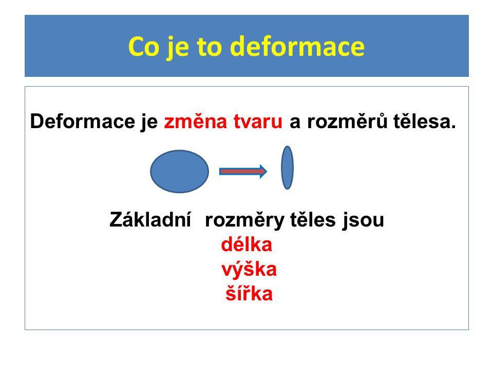 Co je to deformace Deformace je změna tvaru a rozměrů tělesa.