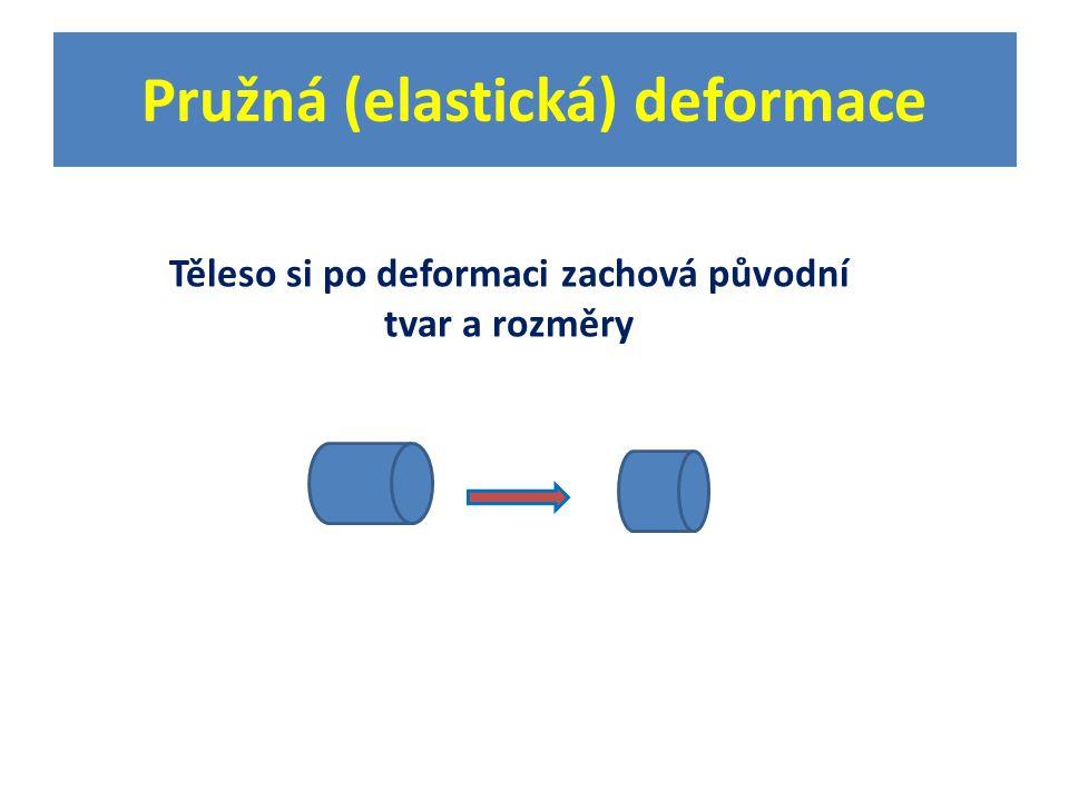 Pružná (elastická) deformace Těleso si po deformaci zachová původní tvar a rozměry