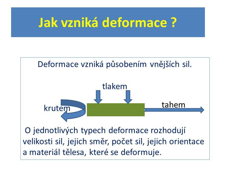 Jak vzniká deformace . Deformace vzniká působením vnějších sil.