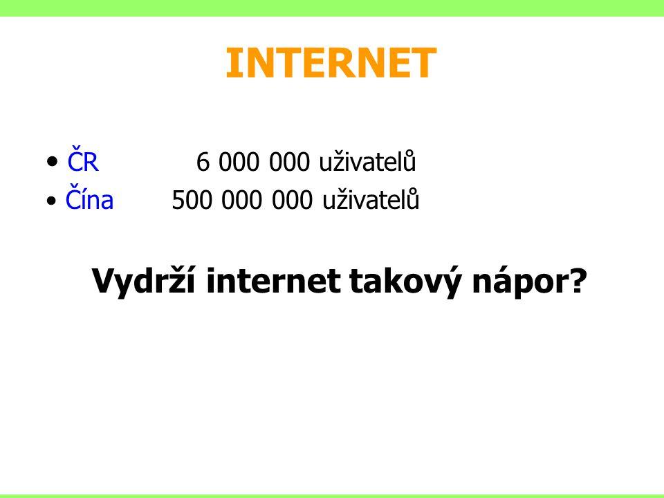 INTERNET ČR 6 000 000 uživatelů Čína 500 000 000 uživatelů Vydrží internet takový nápor?