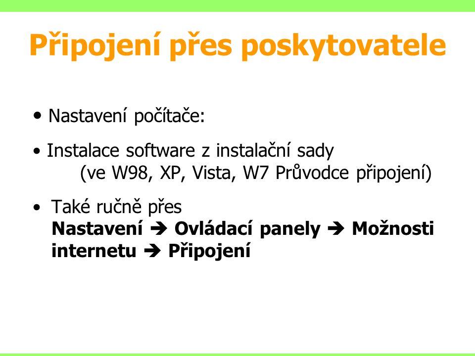Připojení přes poskytovatele Nastavení počítače: Instalace software z instalační sady (ve W98, XP, Vista, W7 Průvodce připojení) Také ručně přes Nasta