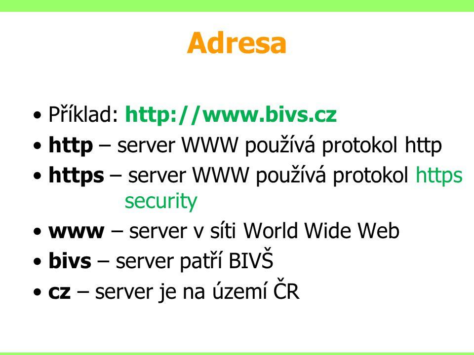 Adresa Příklad: http://www.bivs.cz http – server WWW používá protokol http https – server WWW používá protokol https security www – server v síti Worl