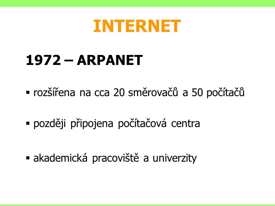 INTERNET 1972 Ray Tomlinson – první e-mailový program 1980 experimentální provoz TCP/IP (OS BSD Unix) 1982 oddělení vojenské části sítě MILNET, ARPANET je sítí akademickou 1983 TCP/IP standardem sítě ARPANET (Transport Control Protocol/Internet Protocol) 1984 Vyvinut DNS (Domain Name System) k Internetu připojeno 1000 počítačů