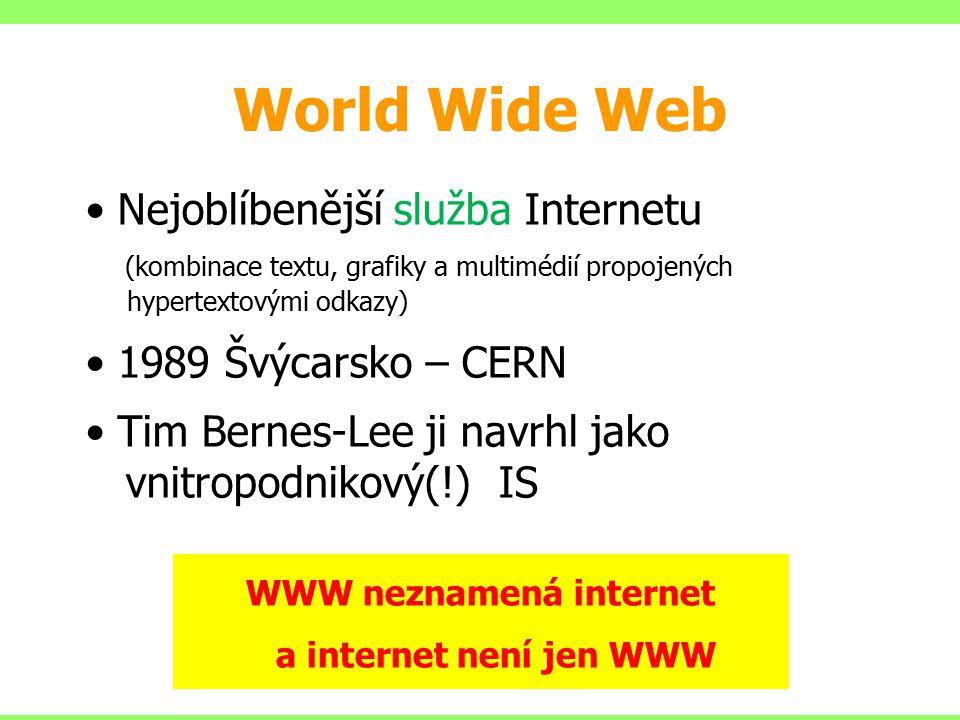 World Wide Web Nejoblíbenější služba Internetu (kombinace textu, grafiky a multimédií propojených hypertextovými odkazy) 1989 Švýcarsko – CERN Tim Ber