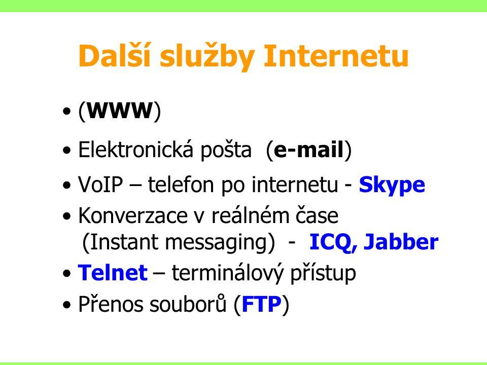 Další služby Internetu (WWW) Elektronická pošta (e-mail) VoIP – telefon po internetu - Skype Konverzace v reálném čase (Instant messaging) - ICQ, Jabb