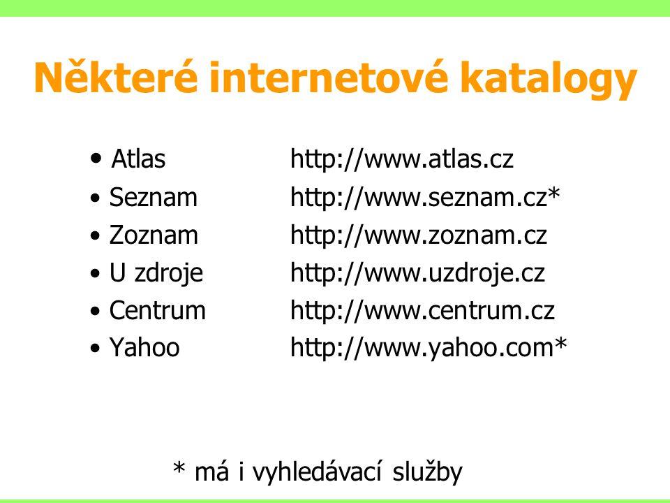 Některé internetové katalogy Atlashttp://www.atlas.cz Seznamhttp://www.seznam.cz* Zoznamhttp://www.zoznam.cz U zdrojehttp://www.uzdroje.cz Centrumhttp
