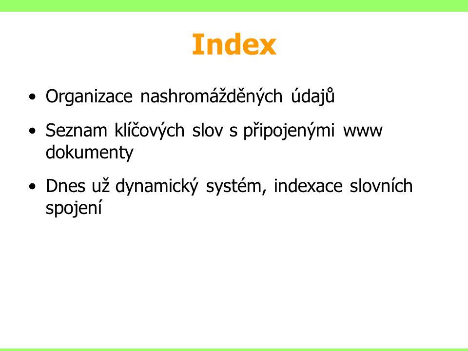 Index Organizace nashromážděných údajů Seznam klíčových slov s připojenými www dokumenty Dnes už dynamický systém, indexace slovních spojení