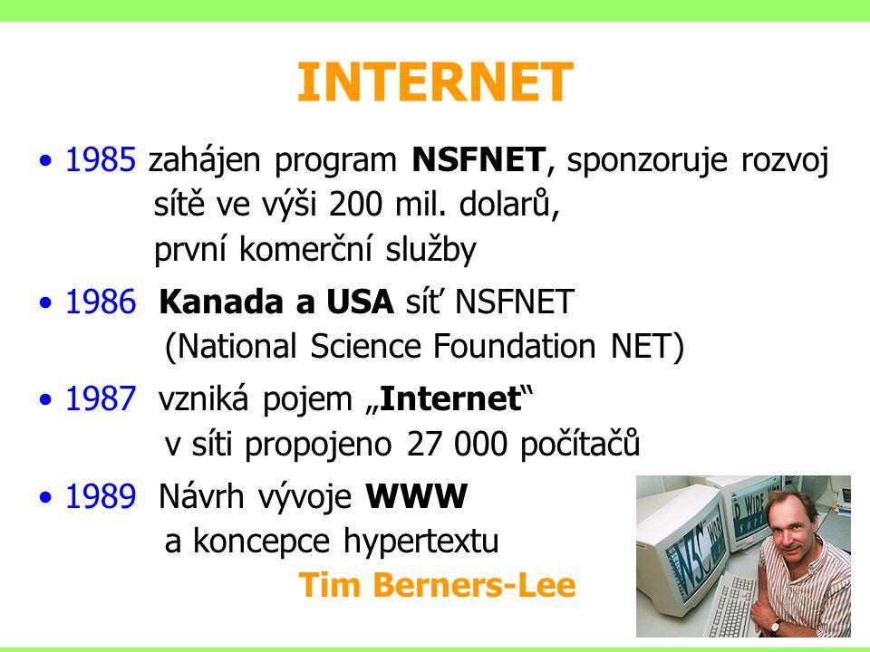 INTERNET 1985 zahájen program NSFNET, sponzoruje rozvoj sítě ve výši 200 mil. dolarů, první komerční služby 1986 Kanada a USA síť NSFNET (National Sci