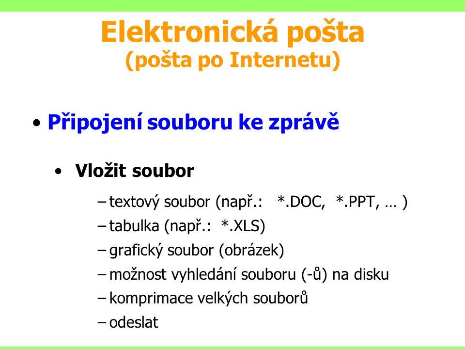 Připojení souboru ke zprávě Vložit soubor –textový soubor (např.: *.DOC, *.PPT, … ) –tabulka (např.: *.XLS) –grafický soubor (obrázek) –možnost vyhled