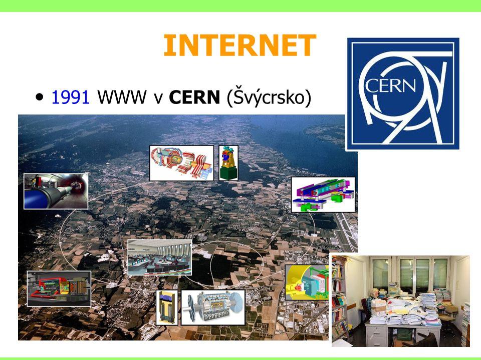 INTERNET ČR připojena k Internetu oficiálně 13.2.1992 1993 Mosaic, první prohlížeč Marc Andreessen Marc Andreessen 1994 Netscape navigator, první prohlížeč 1995 duben – odpojena síť NSFNET (vláda USA přestala síť financovat  Internet zcela na komerčním základě)
