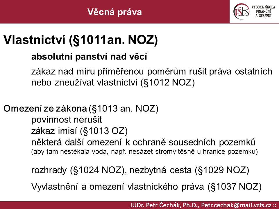 JUDr. Petr Čechák, Ph.D., Petr.cechak@mail.vsfs.cz :: Věcná práva Vlastnictví (§1011an. NOZ) absolutní panství nad věcí zákaz nad míru přiměřenou pomě