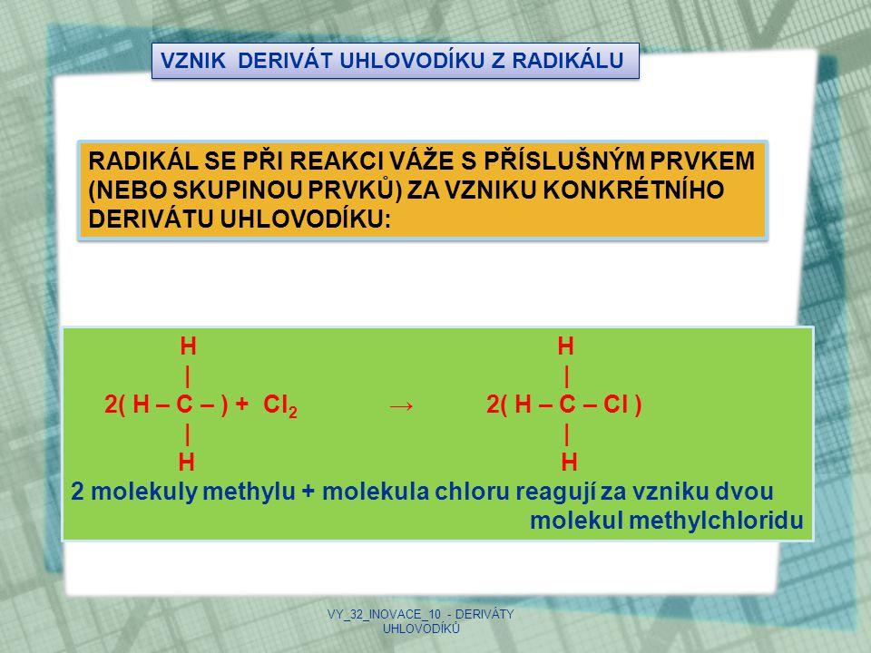 TYPY DERIVÁTŮ UHLOVODÍKŮ DERIVÁTYVZORECSKUPINAKONCOVKAPŘÍKLAD HALOGENOVÉR - XX = F,Cl,Br,I- id CH 2 =CHCl (ethylchlorid) ALKOHOLYR – OH-OH- ol CH 2 OH (methanol) FENOLY Ar – OH-OH- ol ALDEHYDY R – C – H ‖ O - C - ‖ O - al CH 3 -C –H ‖ O (ethanal) KETONY R – C – R ‖ O - C - ‖ O - on CH 3 - C – CH 3 ‖ O (propanon) KARBOXYLOVÉ KYSELINY R – C – OH ‖ O - COOHkyselina...