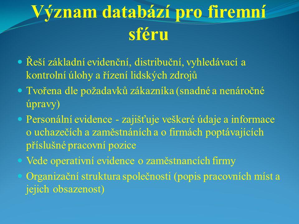 Význam databází pro firemní sféru Řeší základní evidenční, distribuční, vyhledávací a kontrolní úlohy a řízení lidských zdrojů Tvořena dle požadavků zákazníka (snadné a nenáročné úpravy) Personální evidence - zajišťuje veškeré údaje a informace o uchazečích a zaměstnáních a o firmách poptávajících příslušné pracovní pozice Vede operativní evidence o zaměstnancích firmy Organizační struktura společnosti (popis pracovních míst a jejich obsazenost)