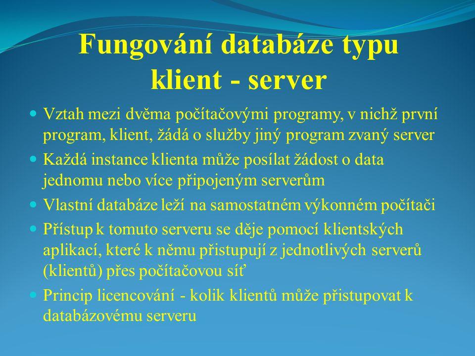 Fungování databáze typu klient - server Vztah mezi dvěma počítačovými programy, v nichž první program, klient, žádá o služby jiný program zvaný server Každá instance klienta může posílat žádost o data jednomu nebo více připojeným serverům Vlastní databáze leží na samostatném výkonném počítači Přístup k tomuto serveru se děje pomocí klientských aplikací, které k němu přistupují z jednotlivých serverů (klientů) přes počítačovou síť Princip licencování - kolik klientů může přistupovat k databázovému serveru