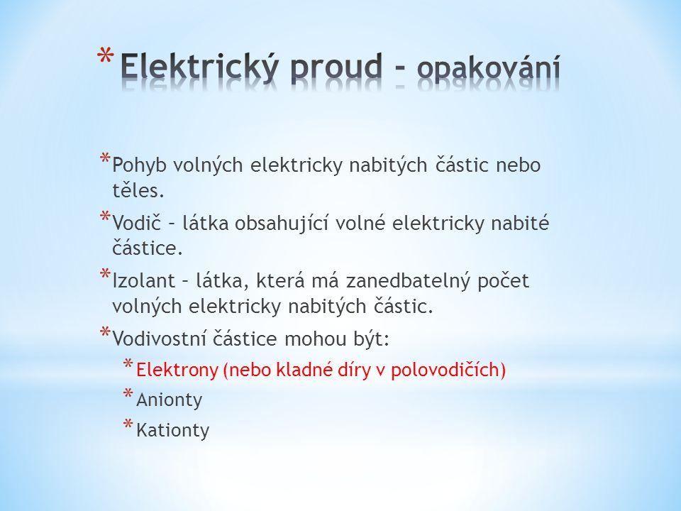 * Pohyb volných elektricky nabitých částic nebo těles.