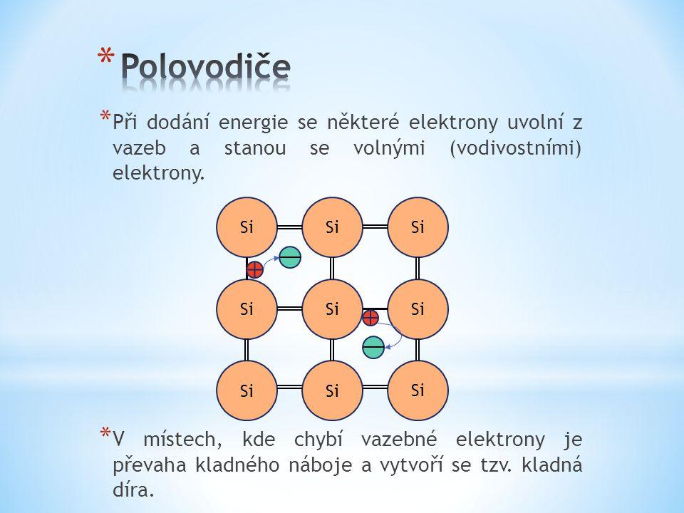 * Při dodání energie se některé elektrony uvolní z vazeb a stanou se volnými (vodivostními) elektrony.