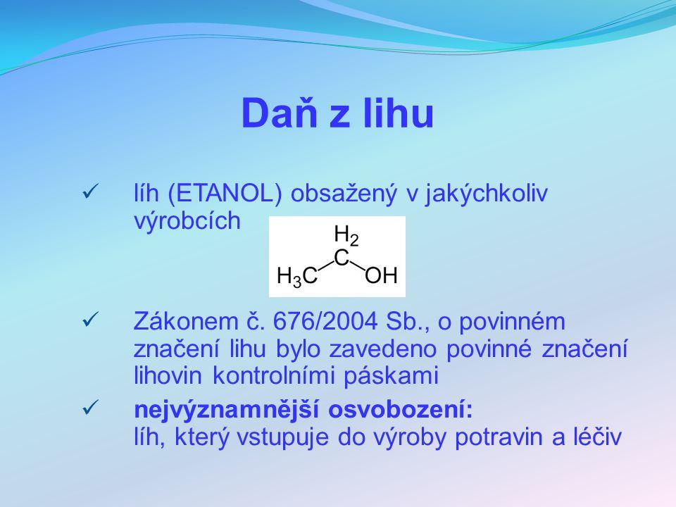Daň z lihu líh (ETANOL) obsažený v jakýchkoliv výrobcích Zákonem č.