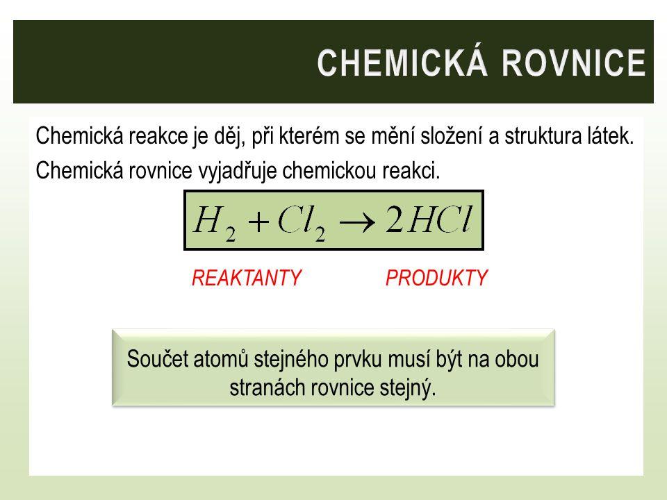 Chemická reakce je děj, při kterém se mění složení a struktura látek. Chemická rovnice vyjadřuje chemickou reakci. REAKTANTY PRODUKTY Součet atomů ste