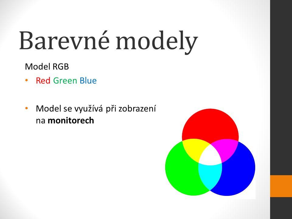 Barevné modely Model RGB Red Green Blue Model se využívá při zobrazení na monitorech