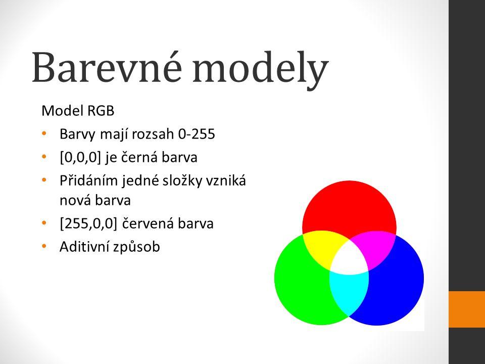Barevné modely Model RGB Barvy mají rozsah 0-255 [0,0,0] je černá barva Přidáním jedné složky vzniká nová barva [255,0,0] červená barva Aditivní způsob