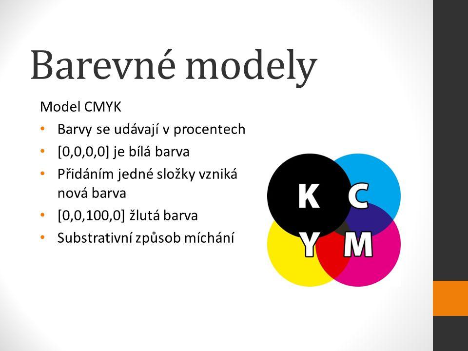 Barevné modely Model CMYK Barvy se udávají v procentech [0,0,0,0] je bílá barva Přidáním jedné složky vzniká nová barva [0,0,100,0] žlutá barva Substrativní způsob míchání
