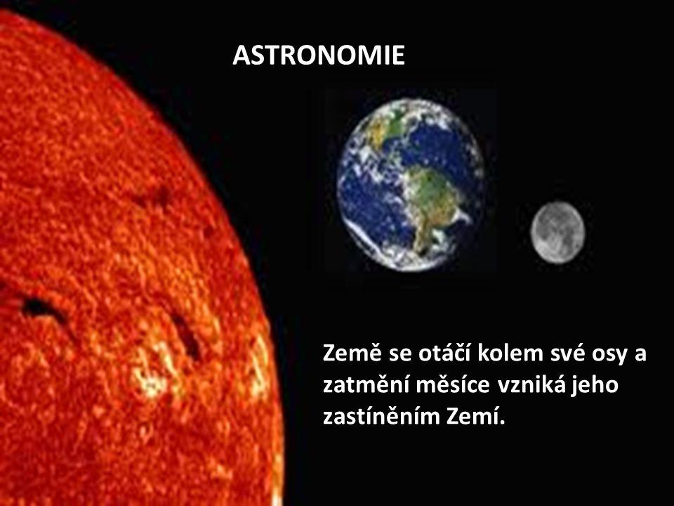 ASTRONOMIE Země se otáčí kolem své osy a zatmění měsíce vzniká jeho zastíněním Zemí.