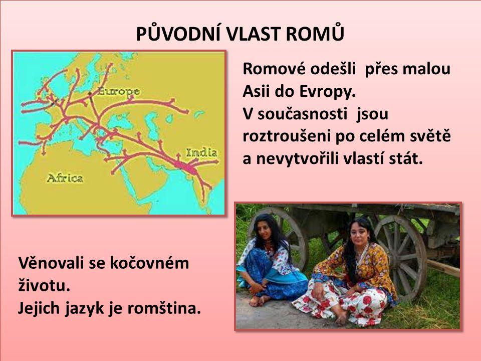 PŮVODNÍ VLAST ROMŮ Romové odešli přes malou Asii do Evropy. V současnosti jsou roztroušeni po celém světě a nevytvořili vlastí stát. Věnovali se kočov