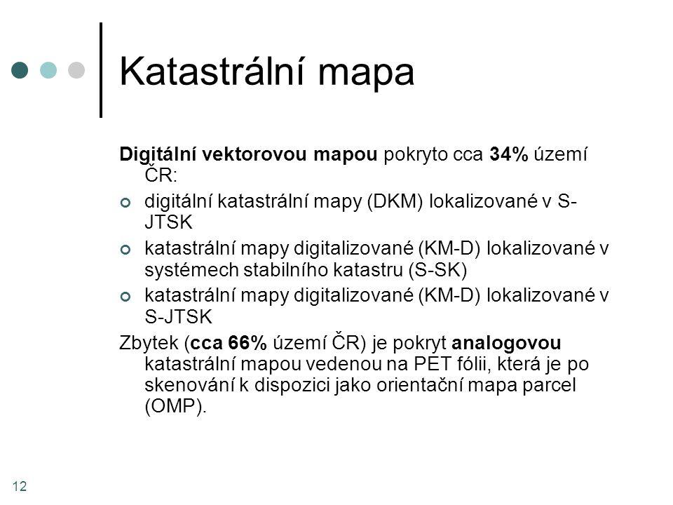 Katastrální mapa Digitální vektorovou mapou pokryto cca 34% území ČR: digitální katastrální mapy (DKM) lokalizované v S- JTSK katastrální mapy digital