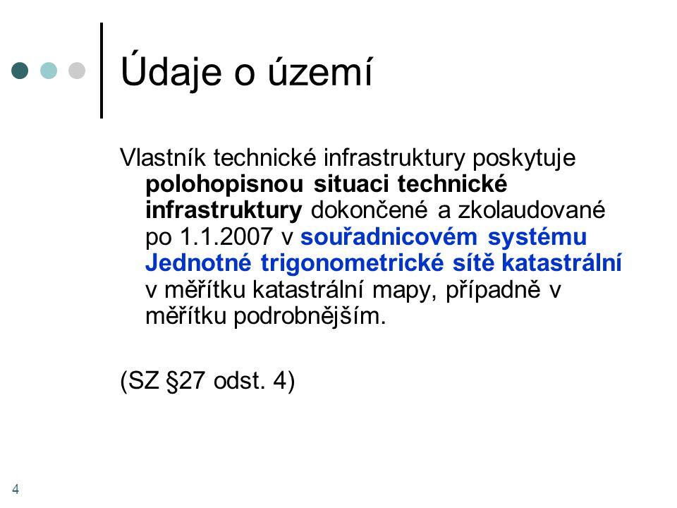 Údaje o území Vlastník technické infrastruktury poskytuje polohopisnou situaci technické infrastruktury dokončené a zkolaudované po 1.1.2007 v souřadn