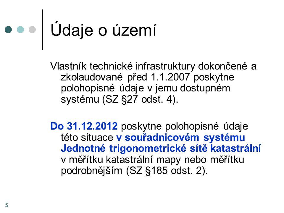 Údaje o území Vlastník technické infrastruktury dokončené a zkolaudované před 1.1.2007 poskytne polohopisné údaje v jemu dostupném systému (SZ §27 ods