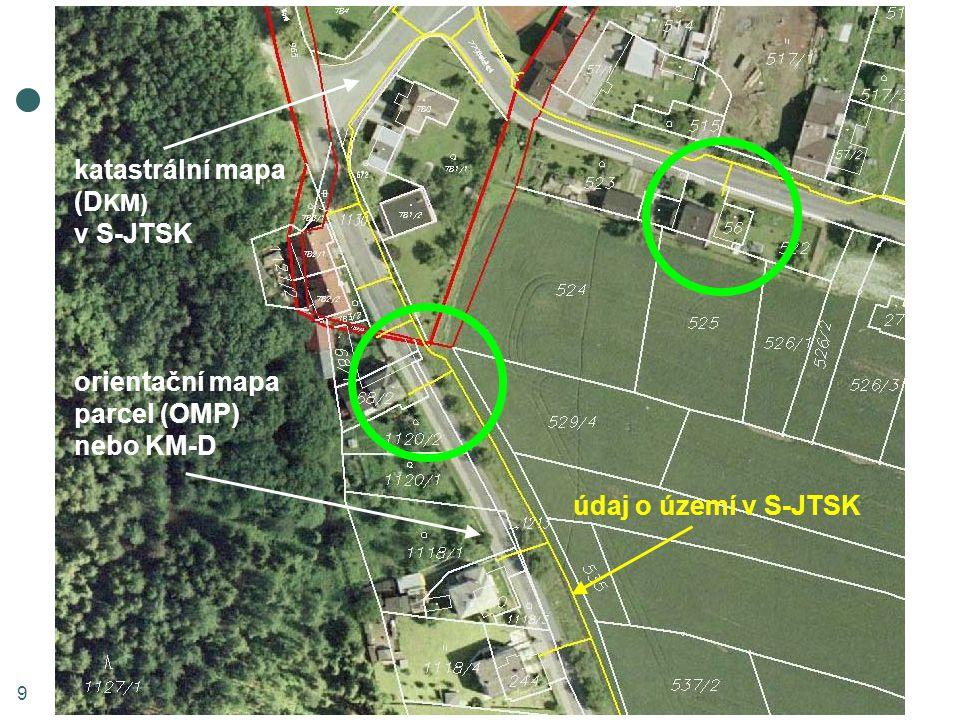9 údaj o území v S-JTSK orientační mapa parcel (OMP) nebo KM-D katastrální mapa (D KM) v S-JTSK