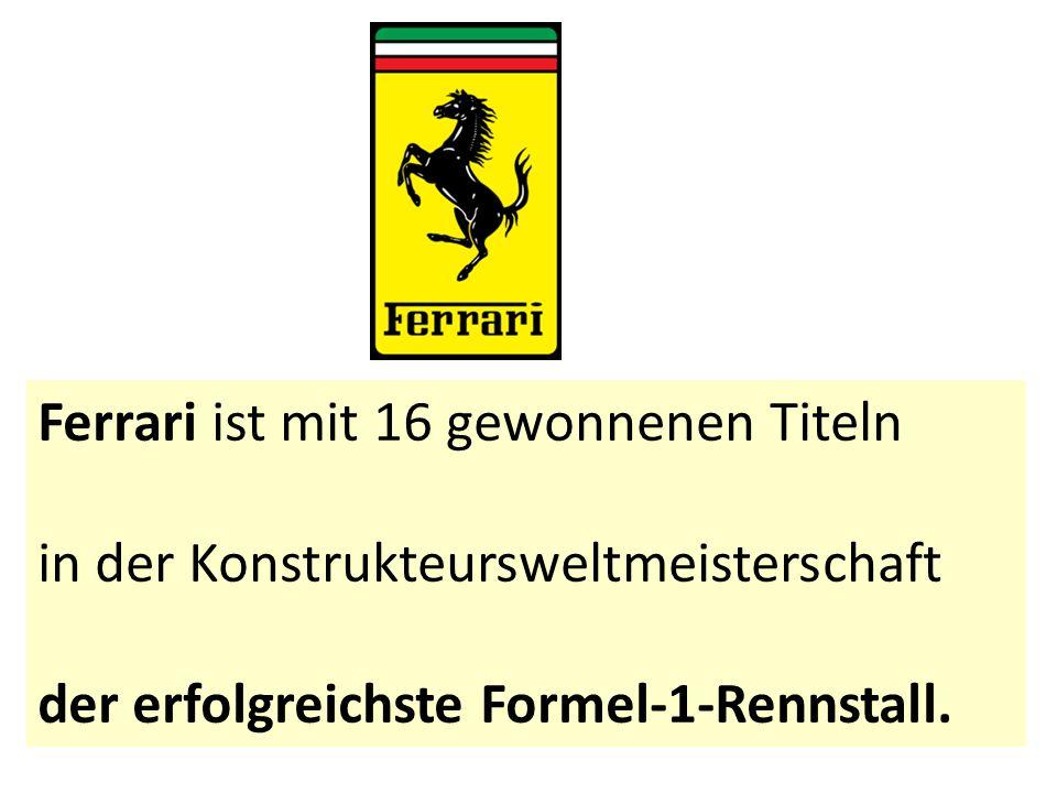 Ferrari ist mit 16 gewonnenen Titeln in der Konstrukteursweltmeisterschaft der erfolgreichste Formel-1-Rennstall.