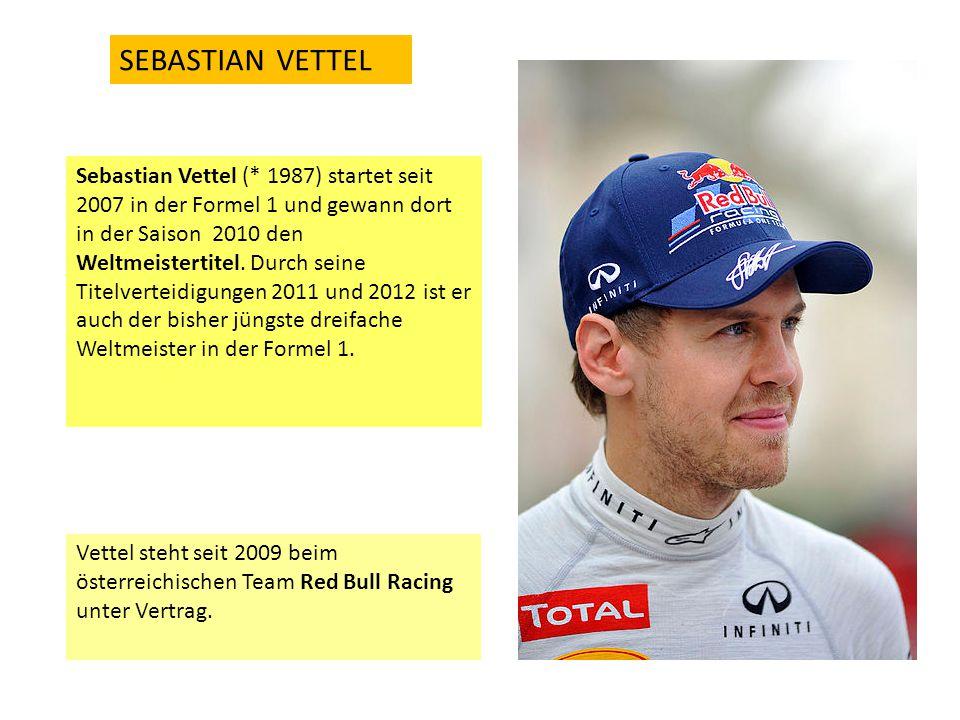 Sebastian Vettel (* 1987) startet seit 2007 in der Formel 1 und gewann dort in der Saison 2010 den Weltmeistertitel. Durch seine Titelverteidigungen 2