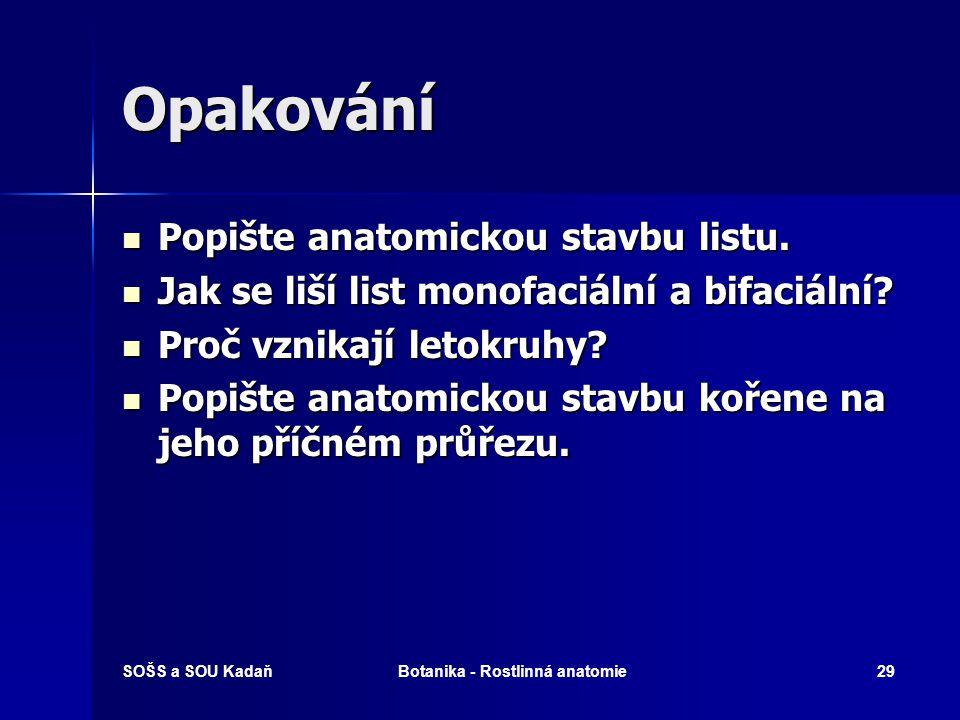 SOŠS a SOU KadaňBotanika - Rostlinná anatomie28 Vyhodnocení 1.b 2.f 3.a 4.c 5.d 6.e