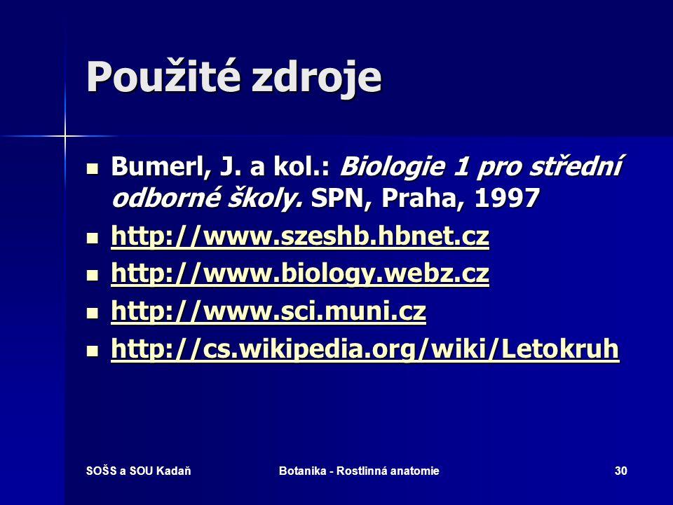 SOŠS a SOU KadaňBotanika - Rostlinná anatomie29 Opakování Popište anatomickou stavbu listu.
