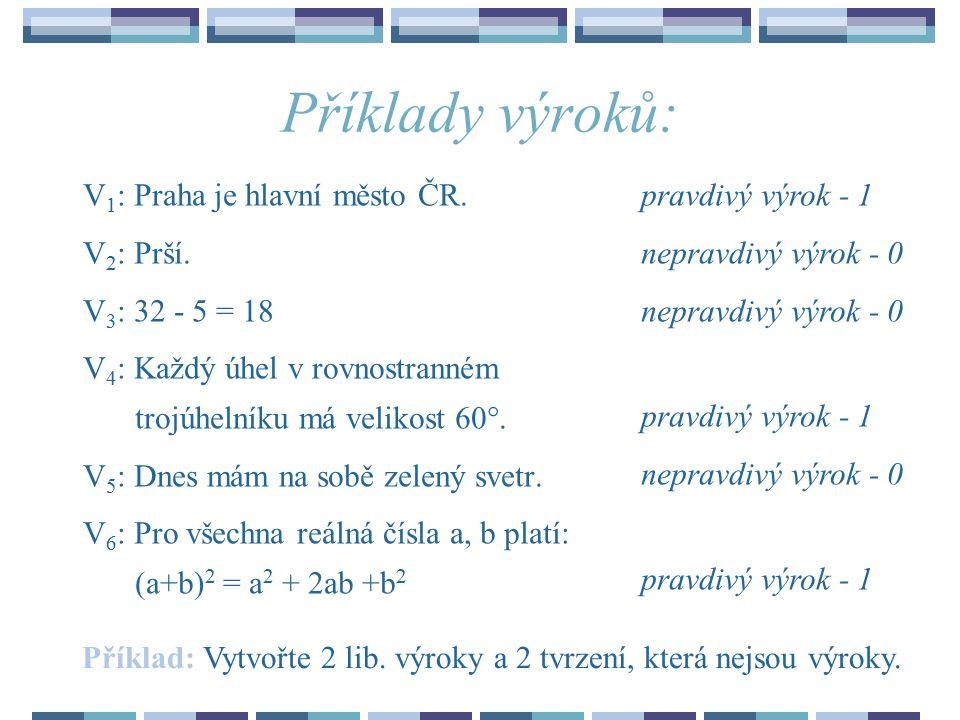 Příklady výroků: V 1 : Praha je hlavní město ČR.V 2 : Prší.