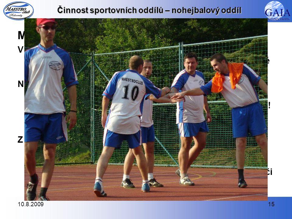 10.8.200915 Činnost sportovních oddílů – nohejbalový oddíl MPD 2008 V první sezóně, ve které jsme byli zařazeni do 4. třídy pražského přeboru, náš noh